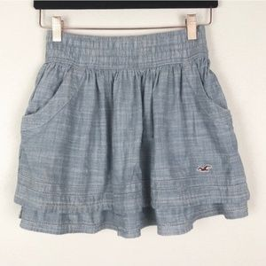 Hollister Chambray Tiered Mini Skirt